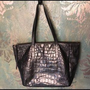 FOSSIL black croc leather shopper